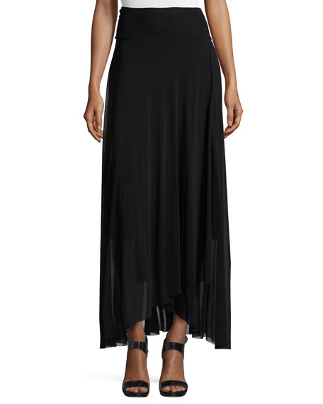 Asymmetric-Hem Tulle Maxi Skirt, Black