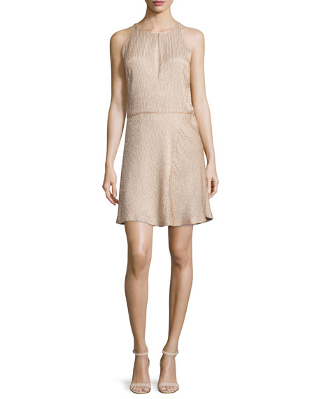 Halston Heritage Beaded Sleeveless Fit-&-Flare Dress, Buff