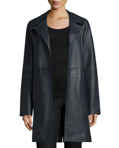 Belted Leather Trenchcoat, Midnight Black