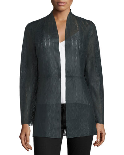 Long Laser-Cut Lambskin Jacket, Navy