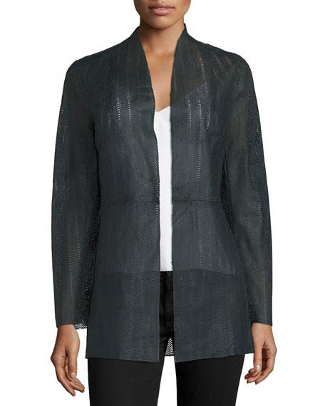 Long Laser-Cut Lambskin Jacket, Navy Best Price