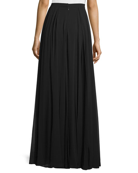 High-Waist Flowy Maxi Skirt, Black