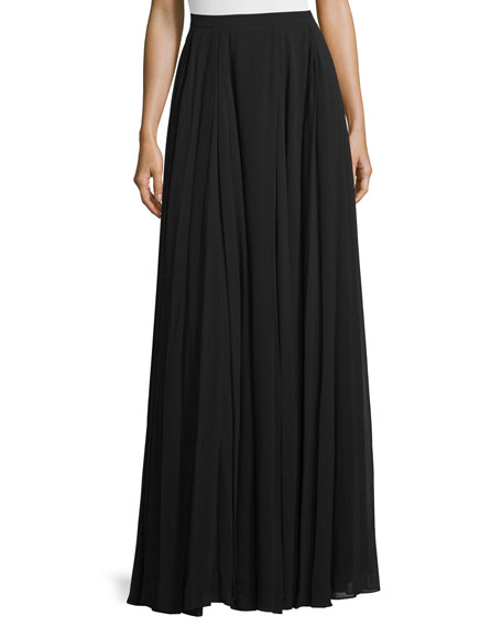 heritage high waist flowy maxi skirt black