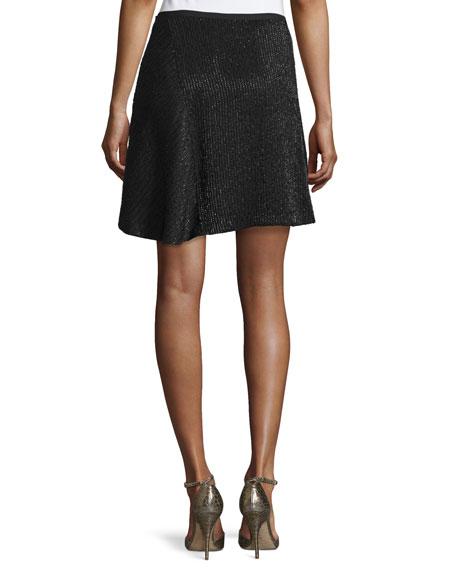 Beaded A-Line Skirt, Black