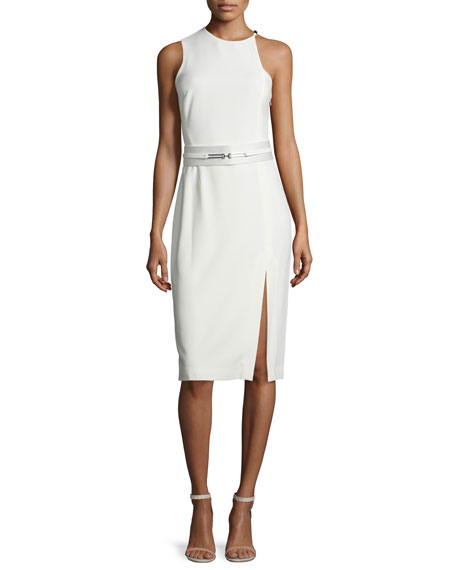 Halston Heritage Asymmetric Sleeveless Belted Sheath Dress, Bone