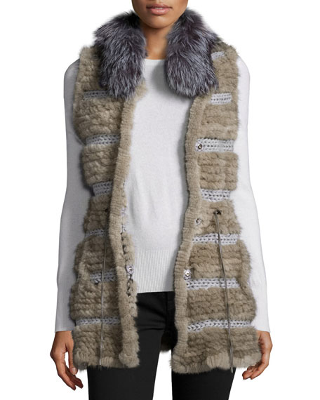 Belle Fare Netted Mink & Fox Fur Vest,
