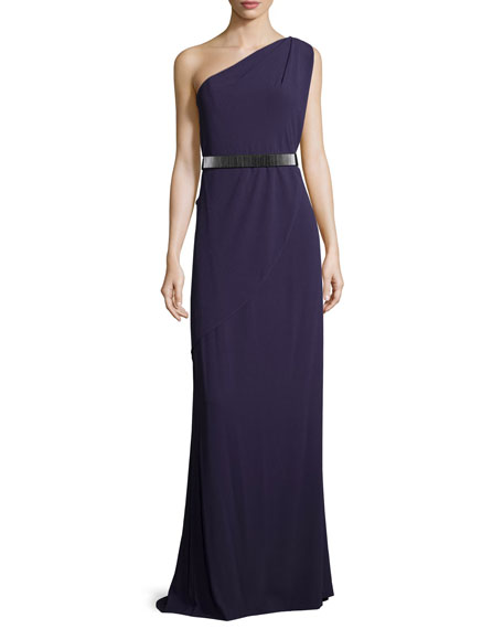 Halston Heritage One-Shoulder Belted Gown, Elderberry