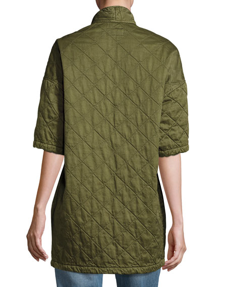 Quilted Car Coat, Hunter Green