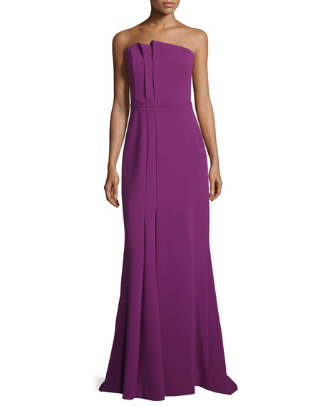 Strapless Folded-Pleat Gown, Magenta