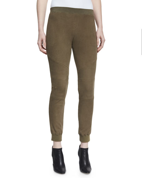 ATM Anthony Thomas Melillo Stretch Suede Track Pants,