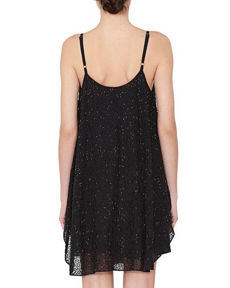 Rhea Beaded Henley Shift Dress, Black
