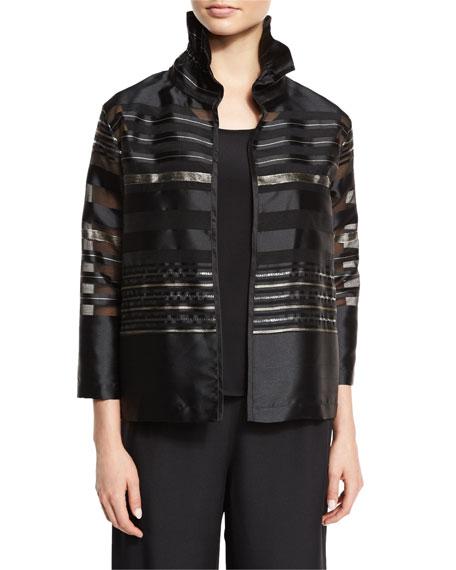 Caroline Rose Petite Striped Organza Bracelet-Sleeve Jacket, Multi/Black