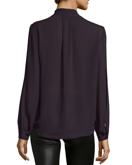 Charlet Tie-Neck Pintuck Blouse