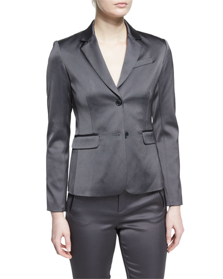 Stretch Satin Two-Button Blazer, Dark Gray Reviews