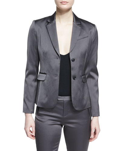 Stretch Satin Two-Button Blazer, Dark Gray