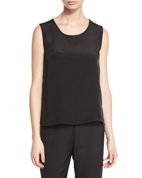 Caroline Rose Petite Mid-Length Silk Crepe Tank Top, Black