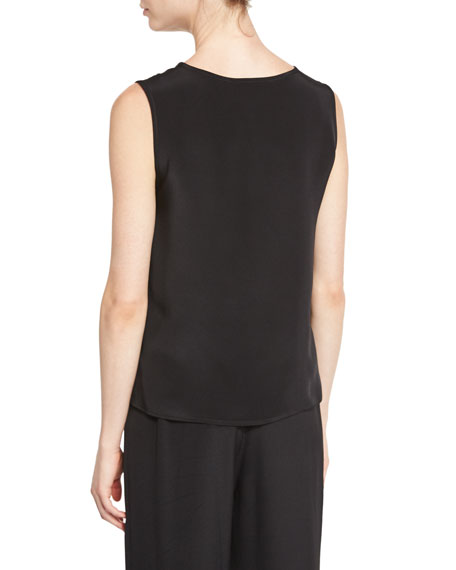 Mid-Length Silk Crepe Tank Top, Black, Women's