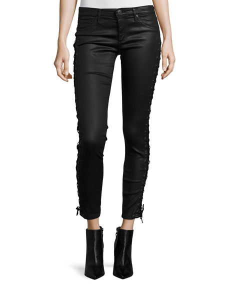 AG Lace-Up Coated Ankle Jeans, Black