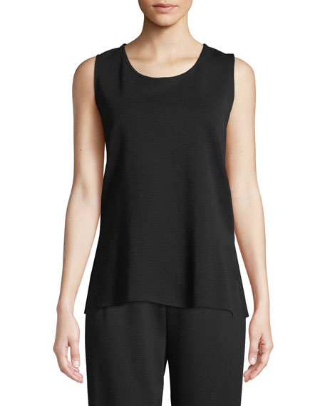 Caroline Rose Ponte Knit Longer Tank, Black