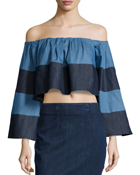 Kendall + Kylie Off-The-Shoulder Striped Chambray Crop Top