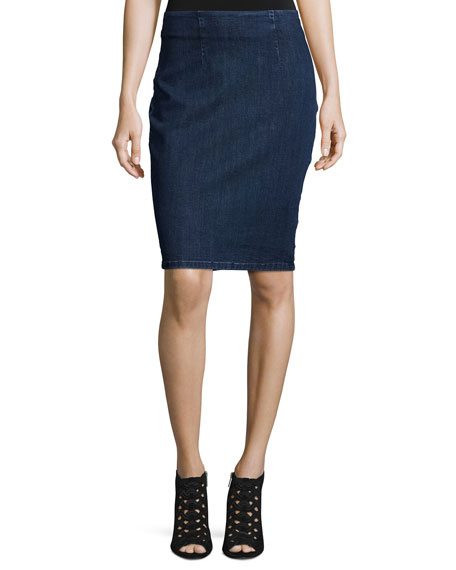 Denim Lace-Back Pencil Skirt
