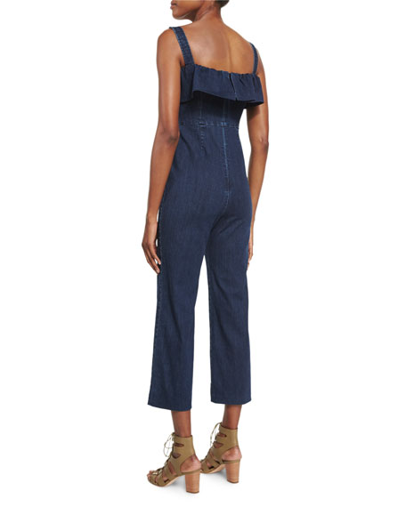 kendall kylie ruffle sleeveless denim jumpsuit blue