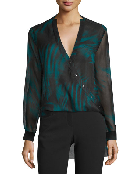 Printed High-Low Wrap Blouse, Spruce