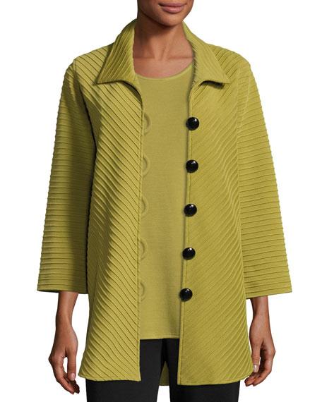 Caroline Rose Ottoman Knit Wool Easy Shirt, Leaf