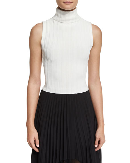 Mira Ribbed Knit Sleeveless Turtleneck Sweater