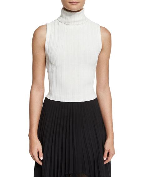 Mira Ribbed Knit Sleeveless Turtleneck Sweater