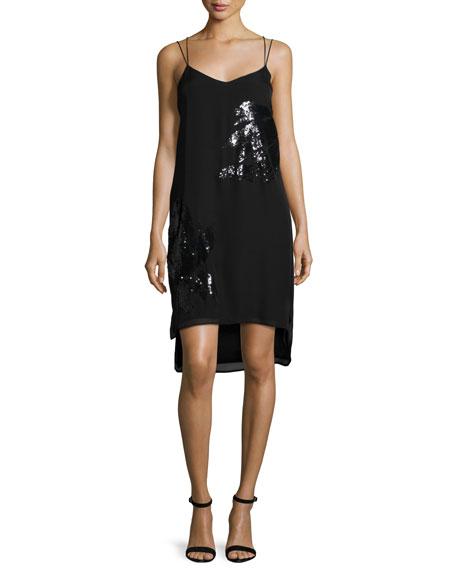 Sequined Slip Dress, Black