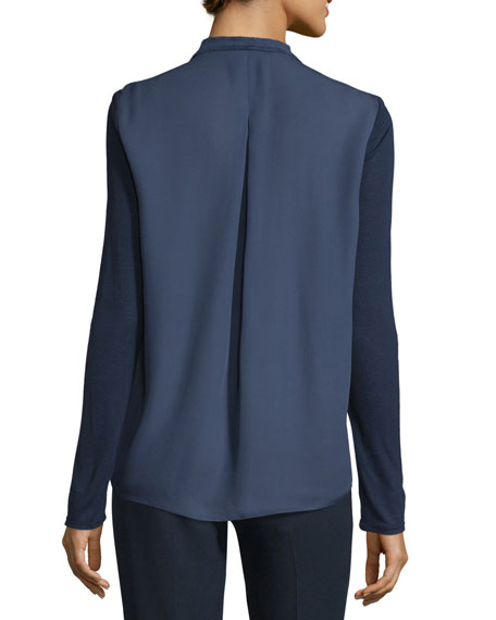 Willow Long-Sleeve Pleated-Bib Blouse, Marine