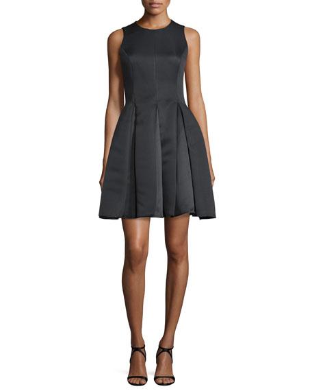 Halston Heritage Sleeveless Pleated Fit-and-Flare Dress, Black