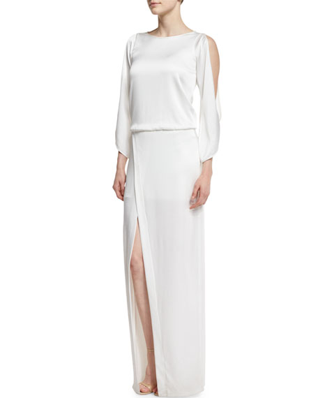 Halston Heritage Cold-Shoulder Crepe Column Gown, Winter White