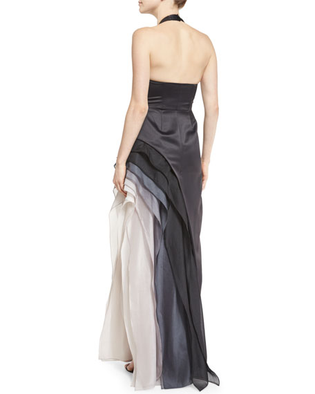 Satin Tiered Ombre Chiffon Halter Gown, Black/Vapor