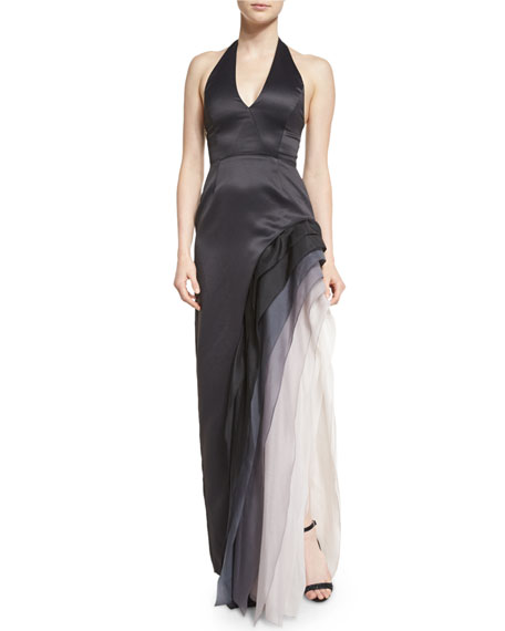 Halston Heritage Satin Tiered Ombre Chiffon Halter Gown,