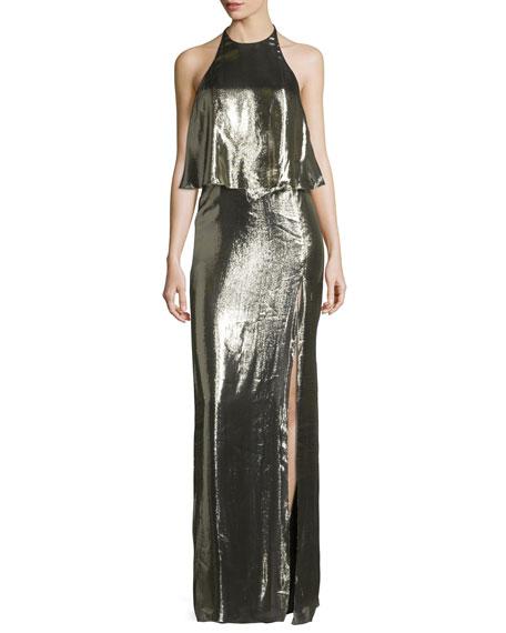 Halston Heritage Metallic Jersey Halter Popover Gown, Antique