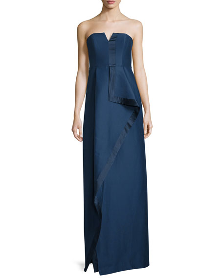 Halston Heritage Strapless Structured Faille Draped Column Gown,