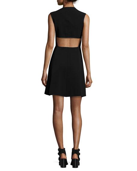 Sharon Sleeveless Zip-Front Jersey Dress, Black