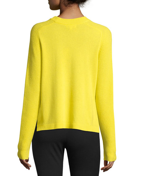 Rag & Bone Valentina Cropped Ribbed Cashmere Sweater, Yellow