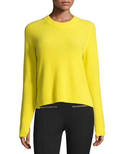 Valentina Cropped Ribbed Cashmere Sweater, Yellow