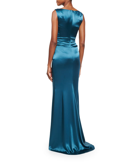 Kombo Sleeveless Draped Satin Gown, Galapagos