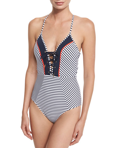 Panama Striped Lace-Up One-Piece Swimsuit
