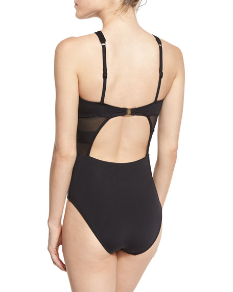 Aspire Cross-Over One-Piece Swimsuit, Black