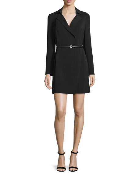 Long-Sleeve Belted Trench Shirtdress, Black