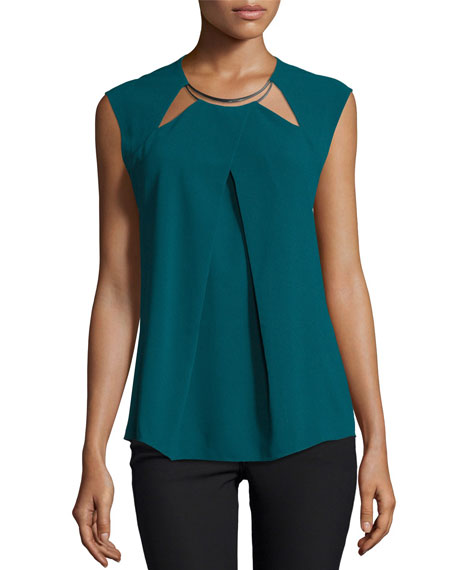 Draped Cap-Sleeve Blouse, Spruce