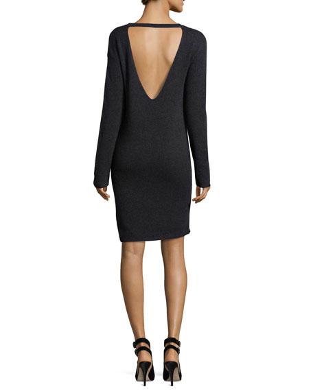 Daniella Open-Back Cashmere Sweater Dress, Charcoal
