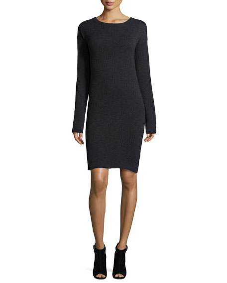 360Cashmere Daniella Open-Back Cashmere Sweater Dress, Charcoal