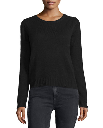 Raj Cashmere Sweater w/ Leopard Skull Back, Black