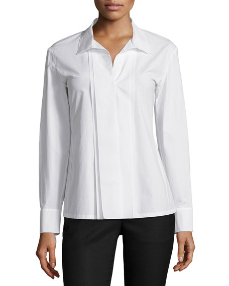 Donna Karan Long Sleeve Tailored Shirt, Ivory